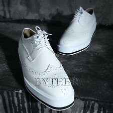 ByTheR Men's Modern Classic Urban Casual Classy White Wing Tip Creeper Shoes