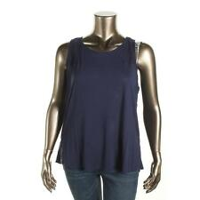 Two by Vince Camuto 4257 Womens Navy Crochet Trim Solid Tank Top Tunic XL BHFO