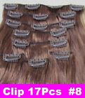 """22"""" Remy Human Hair Clip In Extension #8 100g 17Pcs Straight Long thick hair"""