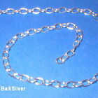 2 ft BULK Silver 1mm THICK OVAL ROLO Cable Chain 5x7mm