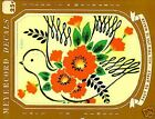 Vintage Decal RED FLOWERS & LG BIRD for Home Decorating