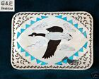Canadian Goose Zuni Inlay Buckle on Sterling Silver
