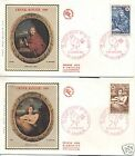 FRANCE 1969 RED CROSS SET OF 2 SILK DECORATED FDC's