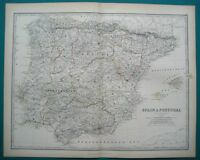 SPAIN & PORTUGAL MAP JOHNSTON OUTLINE COLOURING 1873