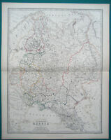 RUSSIA EUROPEAN MAP JOHNSTON OUTLINE COLOURING 1873