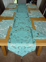 6 PLACE TABLE RUNNER SET IN TEAL/SILVER DAMASK FABRIC