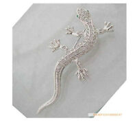 Wholesale new lovely clear 12Pcs Gecko Crystal Rhinestone Brooches