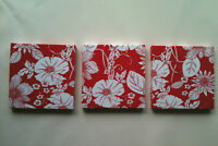 SET OF 3 MODERN RED & WHITE FLOWERED WALLHANGINGS