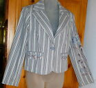 JONES WEAR JEANS Blue Striped EMBROIDERED Stretch JACKET Gray Brown; Washable 8