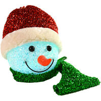 13cm Light Up Battery Hanging EVA Snowman Head With Red Tinsel Hat Decoration