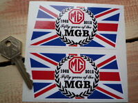 MGB 50th anniversary 1962-2012 Union Jack Handed Classic Car stickers 2 x 100mm