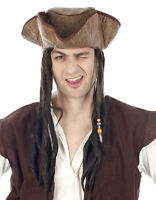 PIRATE HAT AND HAIR FANCY DRESS Jack Sparrow Johnny Depp Caribbean Pirates NEW