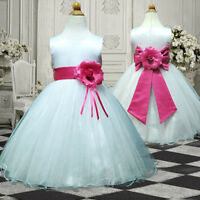 UKMD57 Hot Pink Dressy Wedding Party Flower Girls Dress 1,2,3,4,5,6,7,8,9,10 Yrs