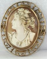 VICTORIAN ANTIQUE GREEK 14K GOLD SHELL CAMEO ROSES PIN PENDANT