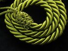 2 Rope curtain tiebacks - Green - slender slinky cord drape tie hold backs