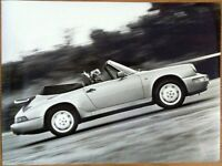 PORSCHE 911 CARRERA 2/CARRERA 4 CABRIO PRESS PHOTOGRAPH CIRCA 1990 BLACK & WHITE
