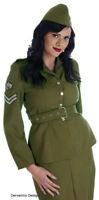 LADIES 1940s ARMY WW2 SOLDIER UNIFORM FANCY DRESS COSTUME OUTFIT XS S M L XL NEW