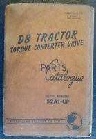 CATERPILLAR D8 TRACTOR TORQUE CONVERTER DRIVE SPARE PARTS BOOK LIST 1963