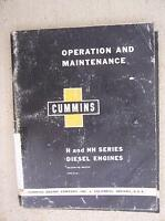 1959 Cummins  Diesel Engine H NH Series Operation Maintenance Manual 4 6 Cyl  J