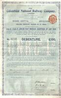 Original Colombia Bond 1903 Colombian National Railway Company £100 Uncancelled