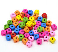 25 x 10mm Mix Colour Cube Number Wooden Beads Jewellery Craft Beading L165