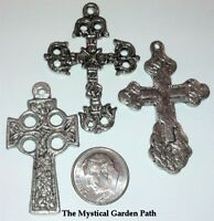 3 Large Antiqued Silver Plated Pewter Celtic CROSS Focal Charm Mix  *
