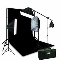 3 Softbox Photo Video Studio Boom Hair Lighting 10 x 12 Black Muslin Backdrop