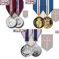 Queens Silver, Golden + Diamond Jubilee Miniature Medals and Ribbon ( UK Made
