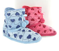 New Womens Girls Heart Print Cosy Fluffy Fur Warm Slippers Booties UK Sizes 3-8