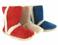 New Womens Girls Novelty Cosy Warm Fur Lined Winter Slipper Booties UK Sizes 3-8
