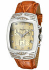 NIB Lucien Piccard Women's 27067BK Diamond Accented Brown Leather Watch