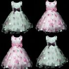 UK3211Free Ship X'mas Wedding Party Summer Flower Girls Dress Sz 3,4,5,6,7,8 Y