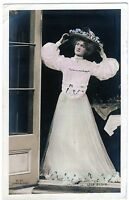 Real Photo Postcard Beautiful Actress Miss Lily Elsie wearing Hat with Flowers