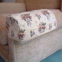 PAIR BOUQUET ARM CAPS/COVERS FOR CHAIRS/SETTEES. STANDARD SIZE
