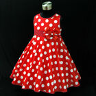 R3121 Kids Girl Red Minnie Mouse Polka dots Girls Dresses SIZE 2,3,4,5,6,7,8,10Y
