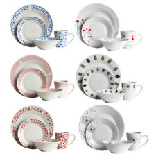 16 Piece Stoneware Porcelain Kitchen Dining Dinner Service Set Plates Mugs Bowls