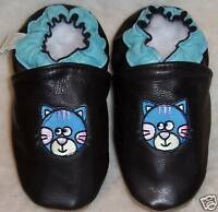 soft sole leather BOY GRL shoes BLACK BABY BLUE CAT (us 2-3 ) chaussons T 32-33