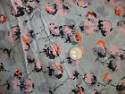 Antique Cotton Blend Fabric NUBBY PINK FLORAL ON GRAY