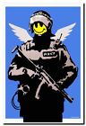 BANKSY FLYING COPPER ANGEL EXTRA LARGE CANVAS PRINT A1 Graffiti Street Poster