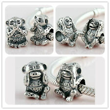 925 Solid Sterling Silver No Look Listen Say Bead fit European Charm Bracelet
