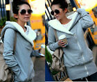 Fashion Korea Lady Women Outerwear Warm Hooded Zip Hoodie Fleece Jacket Coat
