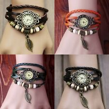 New Girls Vintage Leather Band Leaf Decoration Quartz Alloy Wrist Bracelet Watch
