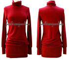 G1 RED TURTLENECK SWEATER DRESS Knit Mini Long Sleeve Sexy Tunic Top New S