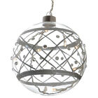 13cm Silver & Diamante Clear Glass Ball Light Up Hanging Christmas Decoration