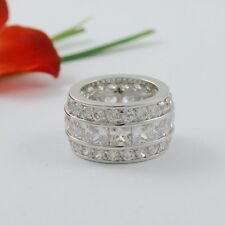 9 CARAT CZ TRIPLE ROW BAGUETTE ETERNITY RING SIZE 5 6 7 8 9 10