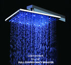 "10"" Chrome Color Changing Solid Brass Square Led Rain Shower Head 101A"