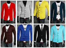 Fashion Men Long Sleeves Knitwear Slim Fit V-neck Cardigan Sweater 8 Colors New