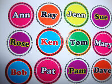 "12 CROWN GREEN BOWLS STICKERS 1"" NAMES QUALITY  FLAT GREEN INDOOR BOWLS"