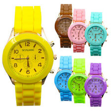 New Womens Ladies Geneva Jelly Gel Quartz Analog Sports Wrist Watch Watches