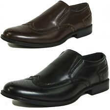 Men's Wing Tip Dress Shoes Slip On Oxford Loafers Brogue Medallion Leather Lined